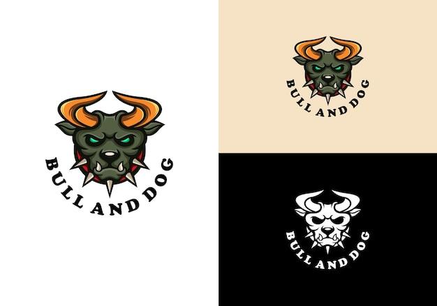 Stier und hund, die logo-maskottchenschablone kombinieren