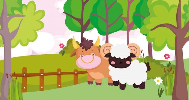 Stier und widder holzzaun bäume blumen nutztier cartoon illustration