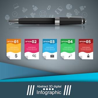 Stift, bildungssymbol. geschäftsinfografik
