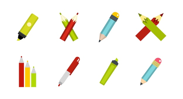 Stift-icon-set. flacher satz der stiftvektor-ikonensammlung lokalisiert