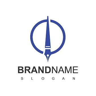 Stift-logo-design-vorlage, symbol für bildung, journalismus und anwaltskanzlei