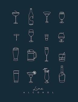 Stiftlinie alkoholikonen dunkelblau