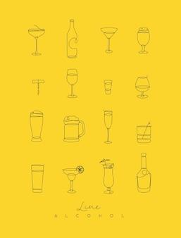 Stiftlinie alkoholikonen gelb