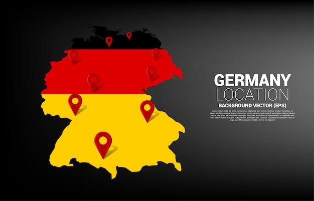 Stiftmarkierung auf deutschlandkarte. konzept für deutschland gps navigationssystem infografik.
