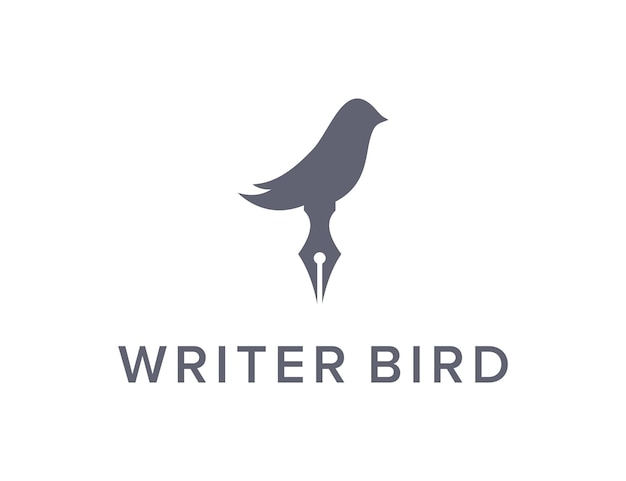 Stiftschreiber und vogel einfaches schlankes kreatives geometrisches modernes logo-design