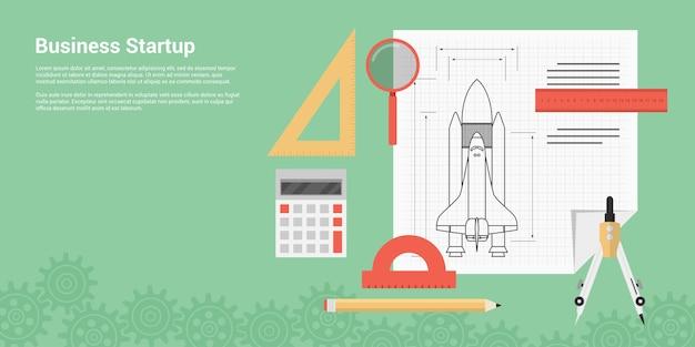 Stil banner konzept der neugründung, einführung neuer produkte oder dienstleistungen, bild der raketenschiffskizze mit linealen, bremssattel, stift, lupe und taschenrechner
