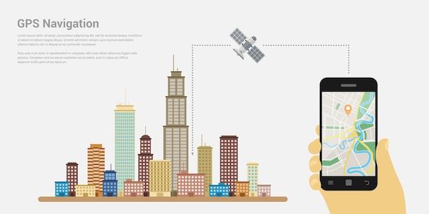 Stil der web-banner-vorlage für website oder infografiken, gps-system für die mobile navigation, zielort, erkennung und suche nach dem richtigen weg.