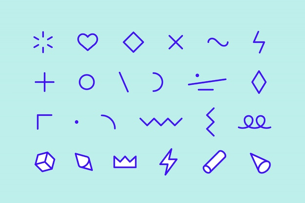 Stilelemente. satz von memphis-elementen, liniengrafikdesign, vorlage für muster, liniengrafik, webdesign. geometrische grafik der bunten sammlung. illustration