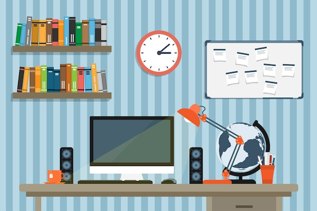 Stilillustration des moderaten arbeitsplatzes im raum oder im büro, arbeitsbereich des kreativen arbeiters