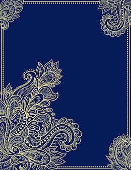 Stilisierte blume im mehndi-stil. rahmen in östlicher tradition.