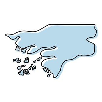 Stilisierte einfache übersichtskarte von guinea-bissau-symbol. blaue kartenskizze von guinea-bissau-vektorillustration