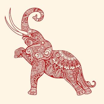 Stilisierte fantasie gemusterter elefant