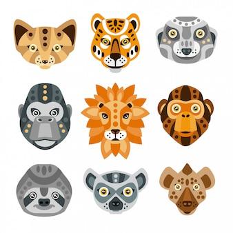 Stilisierte geometrische köpfe der afrikanischen tiere eingestellt
