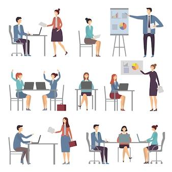 Stilisierte geschäftscharaktere. verschiedene dialoge von büromitarbeitern