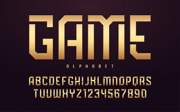 Stilisierte glänzende goldene großbuchstaben, alphabet, schrift, schrift.