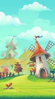 Stilisierte illustration der karikatur zum thema der europäischen landschaft mit einem mobilen windmühlenformat