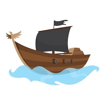 Stilisierte karikaturpiratenschiffillustration mit schwarzen segeln. niedliche vektorgrafik. piratenschiff segelt auf dem wasser.