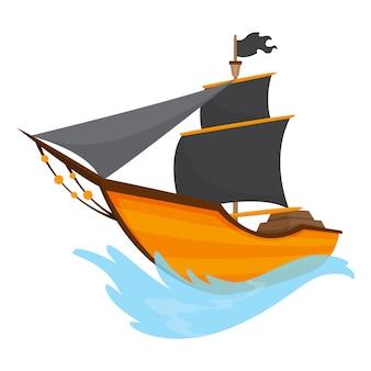 Stilisierte karikaturpiratenschiffillustration mit schwarzen segeln