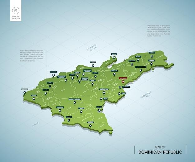 Stilisierte karte der dominikanischen republik.