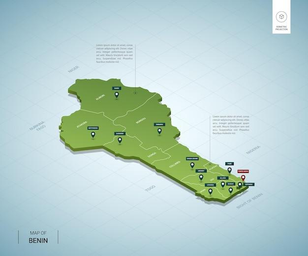 Stilisierte karte von benin. isometrische grüne 3d-karte mit städten, grenzen, hauptstadt porto novo, regionen.