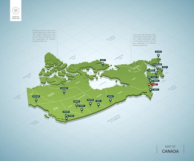 Stilisierte karte von kanada isometrische grüne 3d-karte mit städten