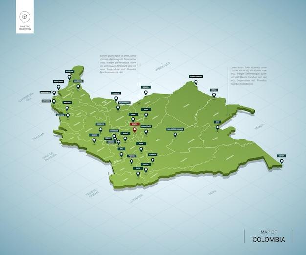 Stilisierte karte von kolumbien isometrische grüne 3d-karte mit städten