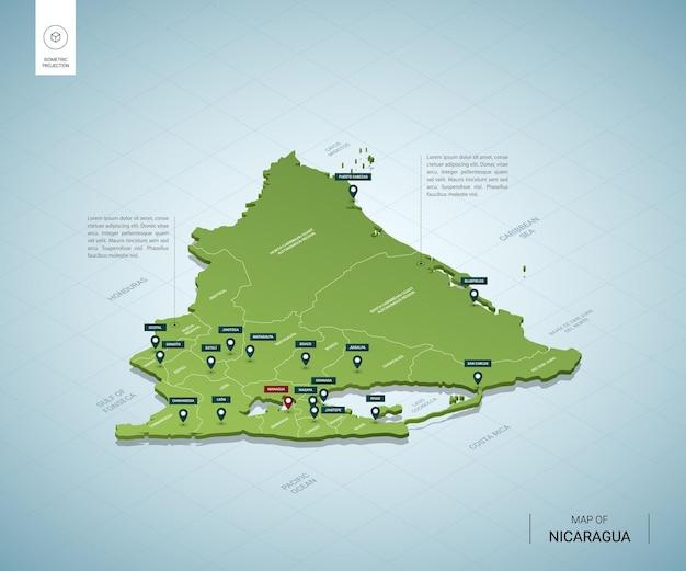 Stilisierte karte von nicaragua. isometrische grüne 3d-karte mit städten, grenzen, hauptstadt managua, regionen.