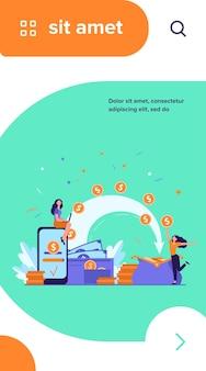 Stilisierte leute, die zahlung senden und geld empfangen, isolierte flache vektorillustration. karikatur winzige frau mit brieftasche und münzen
