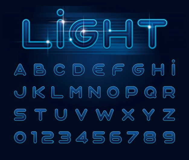 Stilisierte schrift und alphabet
