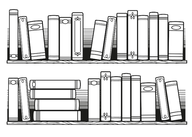 Stilisierte schwarz-weiß-bücher im regal. bücher zum ausmalen für erwachsene, druckbare bullet journal insert books tracker