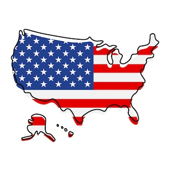 Stilisierte übersichtskarte von amerika mit nationalflaggensymbol. flaggenfarbkarte der usa-vektorillustration.