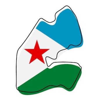 Stilisierte übersichtskarte von dschibuti mit nationalflaggensymbol. flaggenfarbkarte von dschibuti-vektorillustration.