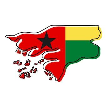 Stilisierte übersichtskarte von guinea-bissau mit nationalflaggensymbol. flaggenfarbkarte von guinea-bissau-vektorillustration.