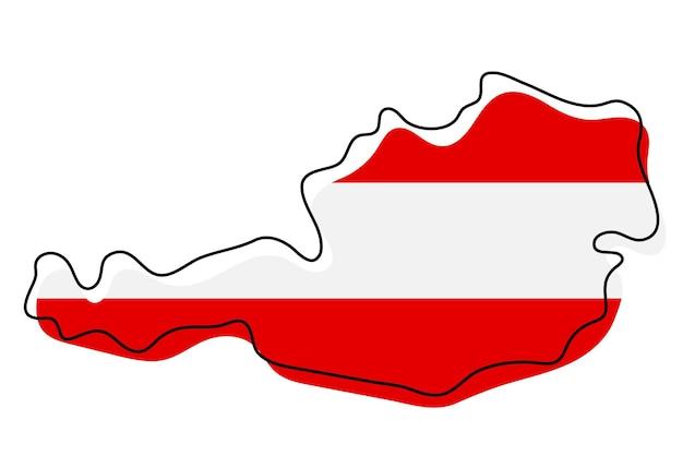 Stilisierte übersichtskarte von österreich mit nationalflaggensymbol. flaggenfarbkarte von österreich-vektor-illustration.
