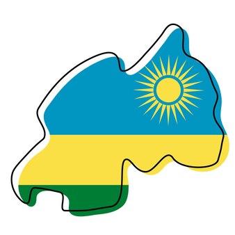 Stilisierte übersichtskarte von ruanda mit nationalflaggensymbol. flaggenfarbkarte von ruanda-vektor-illustration.