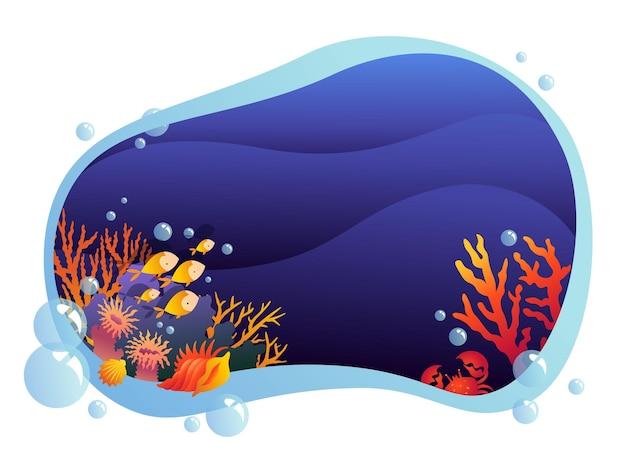 Stilisierte unterwasserwelt in einem rahmen