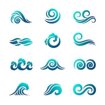 Stilisierte welle. ozean und meerwasser fließende welle schwimmende vektorsymbolsammlung.