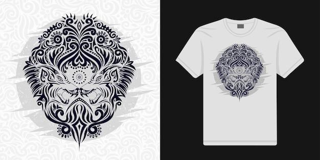 Stilisierte wolfsblumen im ethnischen vektor können für t-shirts verwendet werden