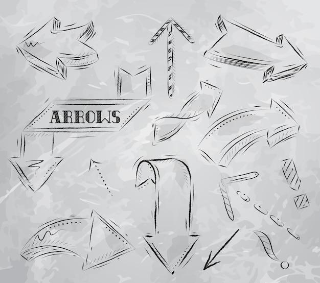 Stilisierte zeichnung des pfeiles in der holzkohle an bord