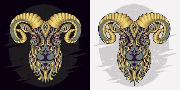 Stilisierte ziege im ethnischen vektorschwarzweiss-hintergrund