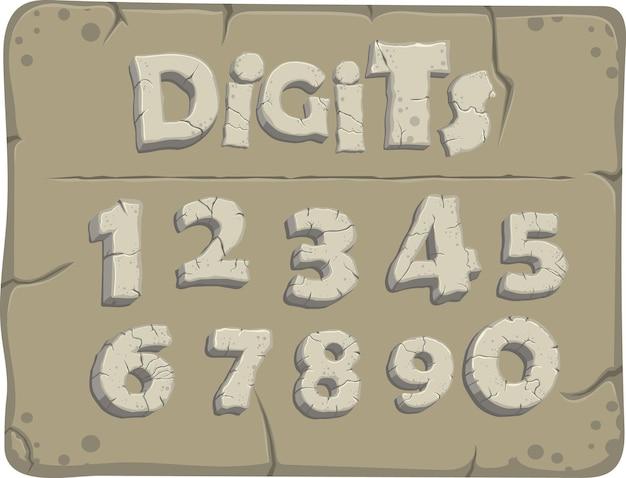 Stilisierte ziffern aus der steinzeit mit rissen, vektorschrift