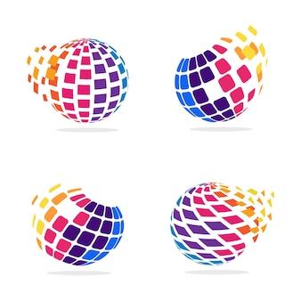 Stilisierter globus mit pixeln in bewegung Premium Vektoren