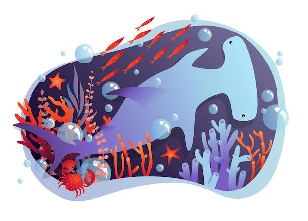Stilisierter hammerhai und andere unterwasserbewohner in einem rahmen