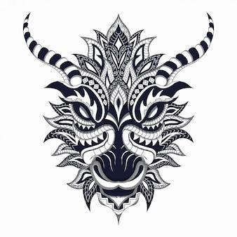 Stilisierter schwarzweiss-drache im ethnischen vektor