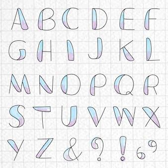 Stilisiertes alphabet und symbolsatz auf einem rasterpapier