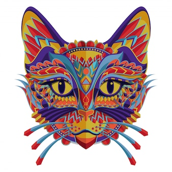 Stilisiertes buntes katzenporträt auf weißem hintergrund