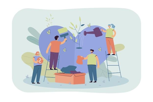 Stilisiertes freiwilliges team, das pflege gibt und hoffnung teilt, isolierte flache illustration. karikaturgruppe von charakteren, die armen leuten mit sozialer unterstützung und geld helfen