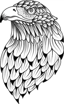 Stilisiertes gekritzel eagle-vogelkopf zentangle