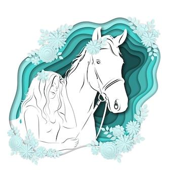 Stilisiertes schattenbild eines mädchens auf einem pferd der papierkunst.