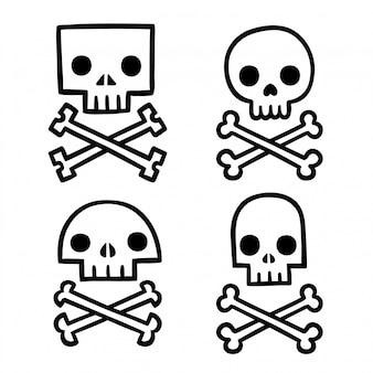 Stilisiertes totenkopf-set